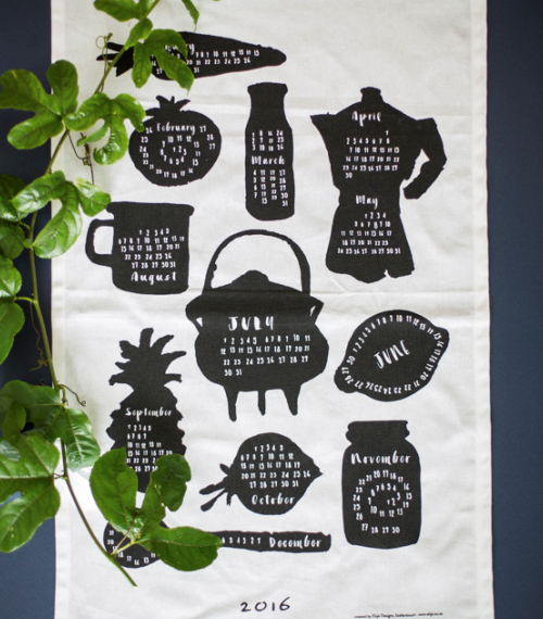 2016 Calendar Tea Towel