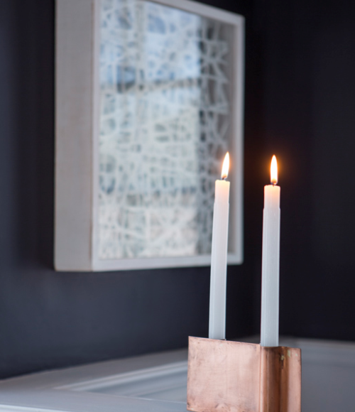 Copper Plate Candle Holder